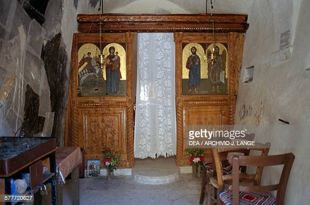 Iconostasis in the Byzantine church of Agios Georgios Melambes Crete Greece