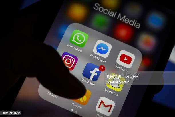 Icons of WhatsApp Messenger messaging and voice over IP service Instagram social networking service Social network company Facebook YouTube video...