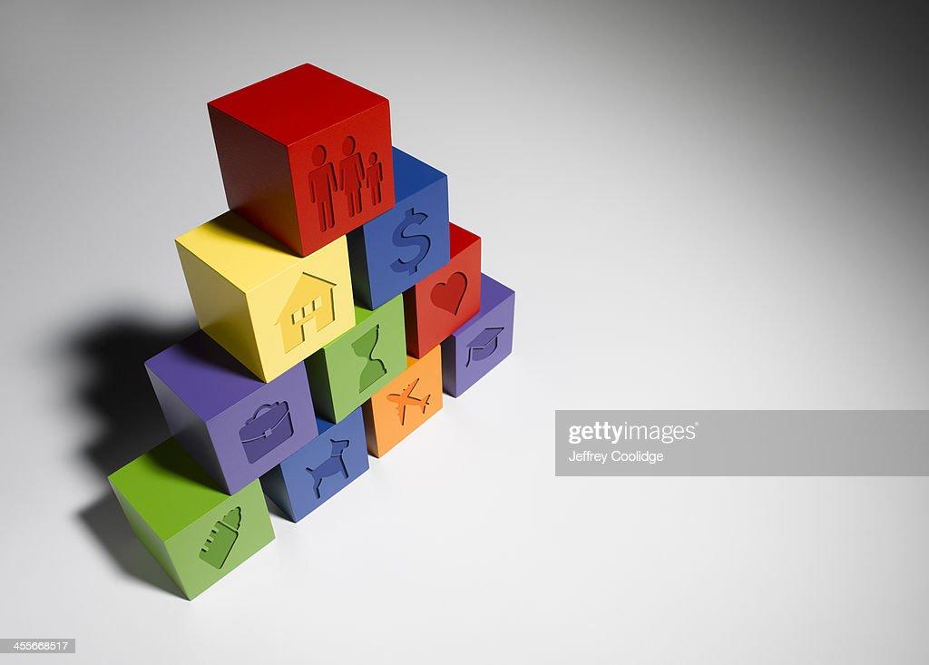 Icons on Blocks Side : Stock Photo