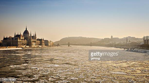 icy budapest - royal palace budapest stock pictures, royalty-free photos & images