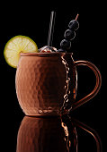 icy cold moscow mule cocktail with