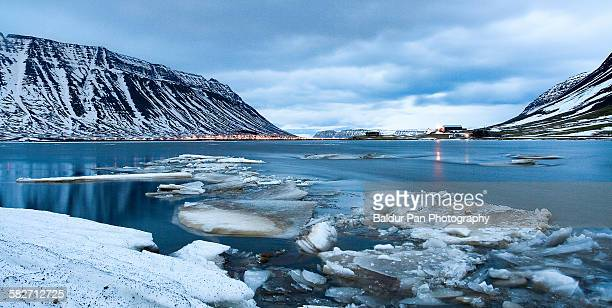 icy fjord of ísafjörður - westfjords iceland stock photos and pictures