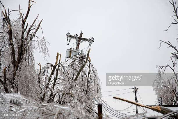 icy power pole falling - power line stock pictures, royalty-free photos & images