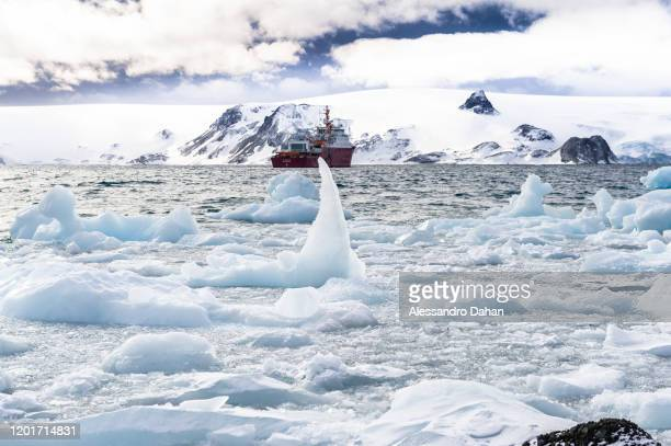 Icy view of Admiral Maximiano Polar Ship in Admiralty Bay Keller Peninsula on November 06 2019 in King George Island Antarctica