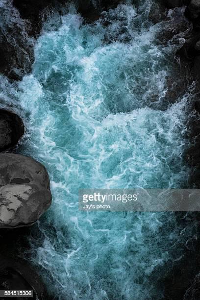 Icy water splash through a mountain
