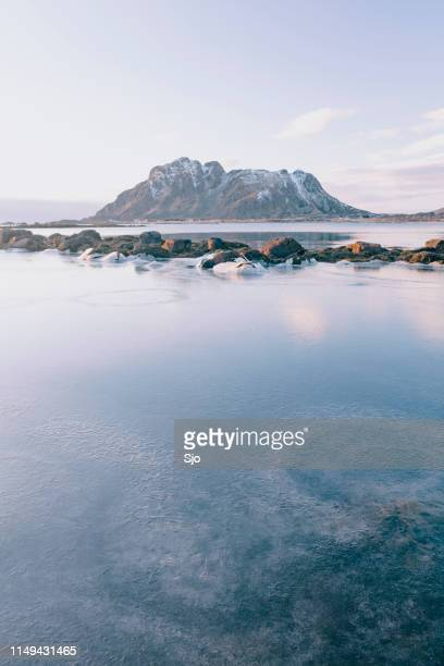 Icy winter landscape in the Vesteralen archipel in Northern Norway