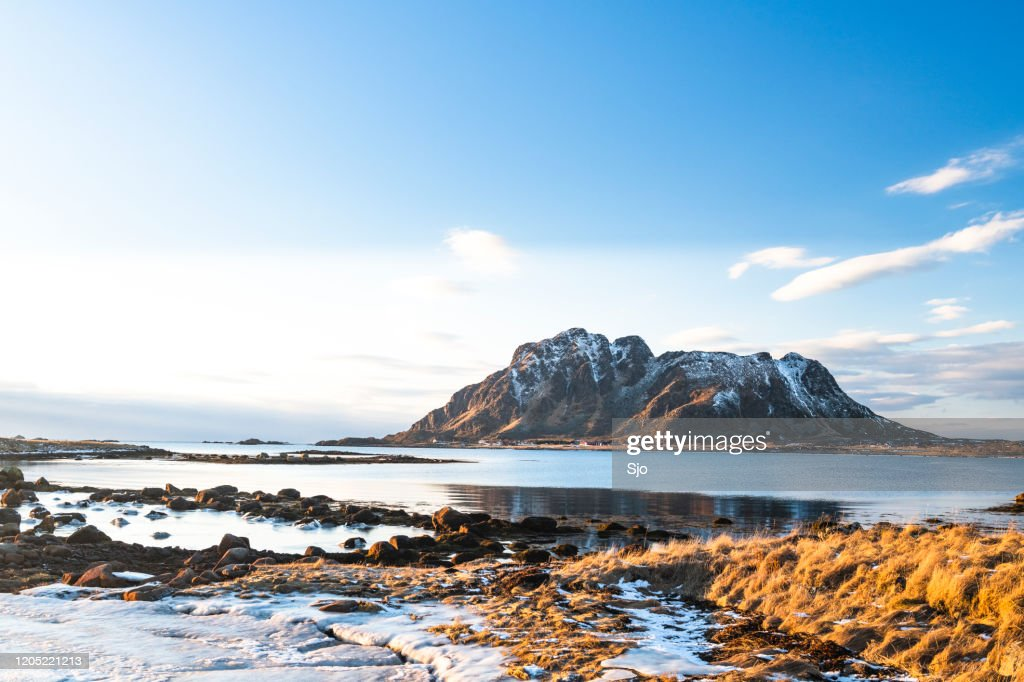 Icy winter landscape in the Vesteralen archipelago in Northern Norway : Stock Photo
