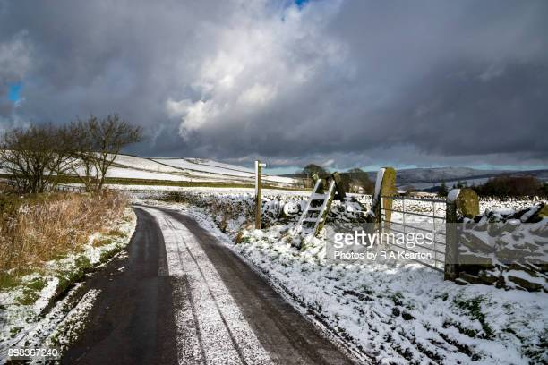Icy winter road in the hills of Northern England