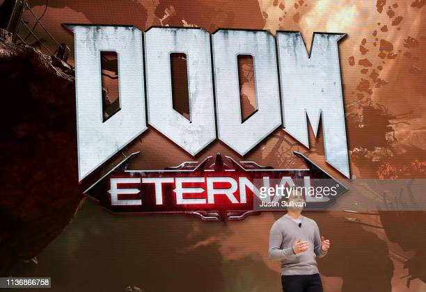id Software executive producer Marty Stratton speaks during the GDC Game Developers Conference on March 19 2019 in San Francisco California Google...