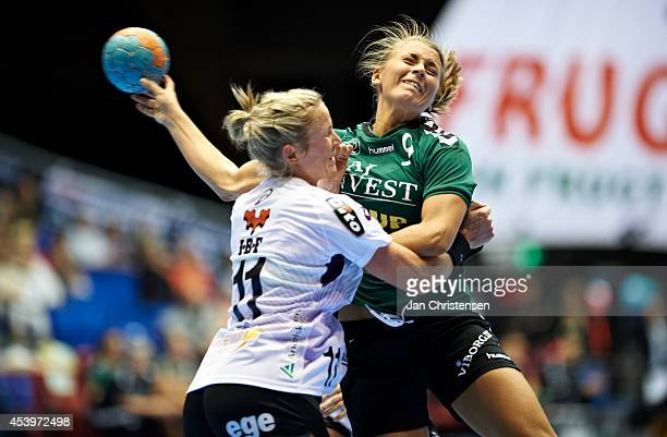 Ida Alstad of FC Midtjylland and Isabelle Gullden of Viborg HK challenge for the ball during the Super Cup Final between Viborg HK and FC Midtjylland...