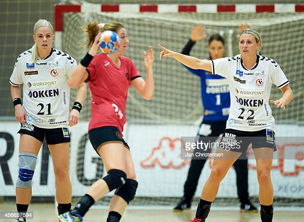 Ida Bjorndalen of Team Esbjerg and Johanna Ahlm of Team Esbjerg defend during the Danish Handball Liga match between Copenhagen Handball and Team...