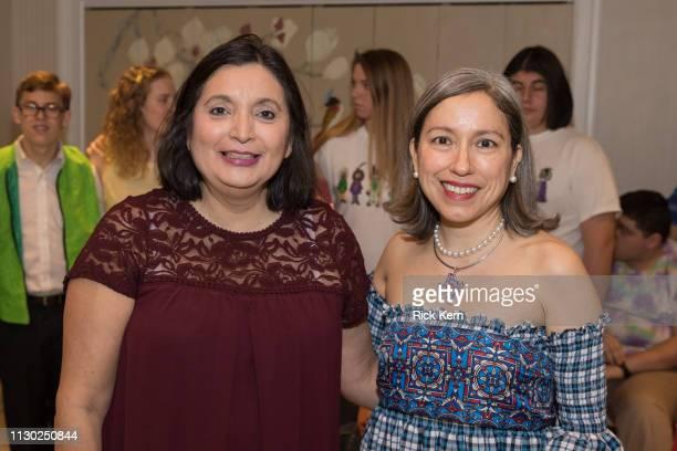 Ida De La Rosa Ellis and designer Marisol Deluna attend the Marisol Deluna Foundation Community Fashion Show at the San Antonio Garden Center on...