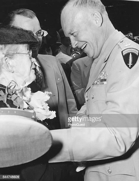 Ida Eisenhower greets her son American military commander and later US President General Dwight D Eisenhower at Kansas City Municipal Airport Kansas...