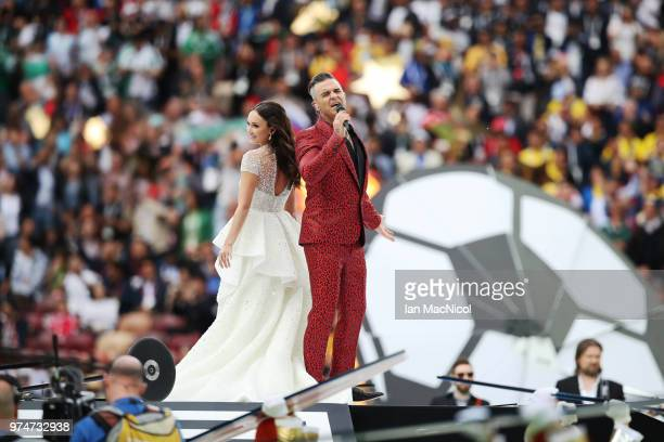 Ida Garifullina and Robbie Williams are seen during the Opening Ceremony during the 2018 FIFA World Cup Russia group A match between Russia and Saudi...