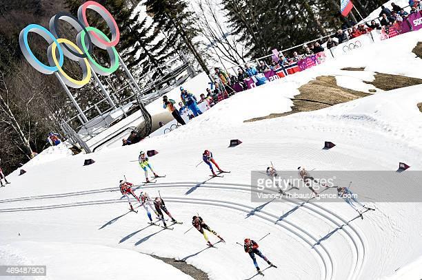 Ida Ingemarsdotter of Sweden wins gold medal Anne Kylloenen of Finland wins silver medal Nicole Fessel of Germany wins bronze medal during the...