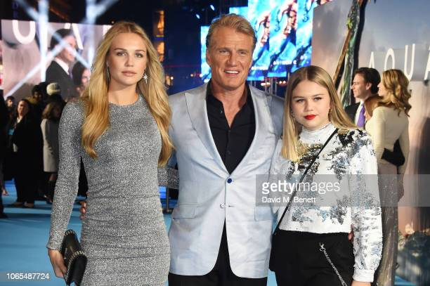 Ida Lundgren Dolph Lundgren and Greta Lundgren attend the World Premiere of Aquaman at Cineworld Leicester Square on November 26 2018 in London...