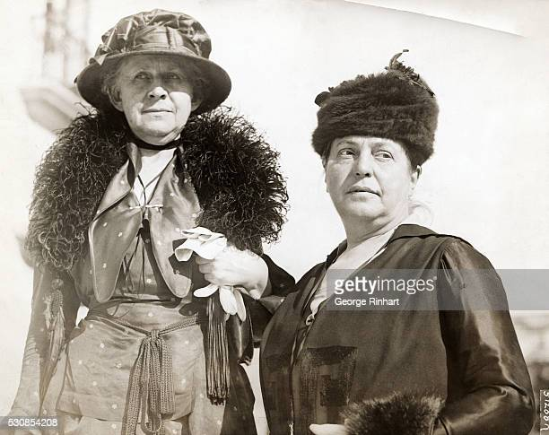 Ida M Tarbell and Miss Lillian Wald woman delegates to the great industrial conference being held at Washington DC are shown in front of the Pan...