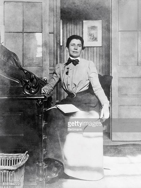 Ida Minerva Tarbell journalist and historian born in Erie County PA is shown here seated in her office