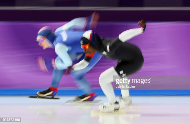 Ida Njatun of Norway and Erin Jackson of the United States compete during the Ladies' 500m Individual Speed Skating Final on day nine of the...