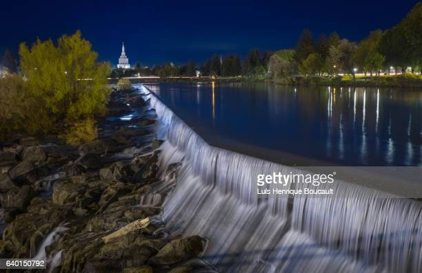 idaho falls & blue hour - idaho falls stock photos and pictures