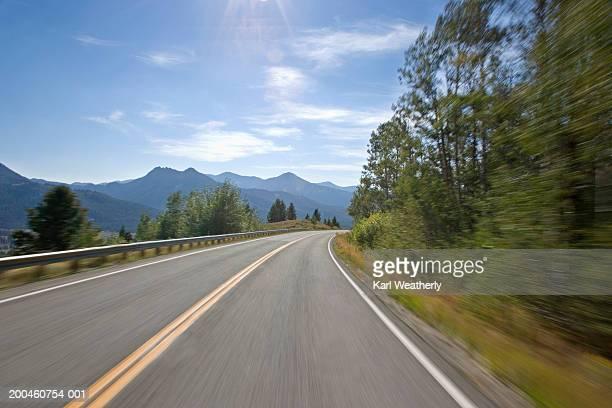 USA, Idaho, Galena Summit, Highway 75 (blurred motion)