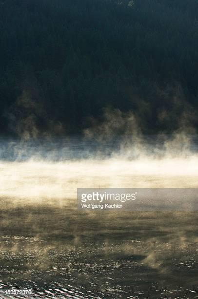 USA Idaho Near Sandpoint Mirror Lake Steam Rising Early Morning