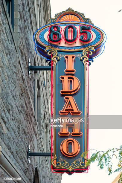 805 idaho neon street sign in downtown boise idaho usa - boise idaho stock pictures, royalty-free photos & images