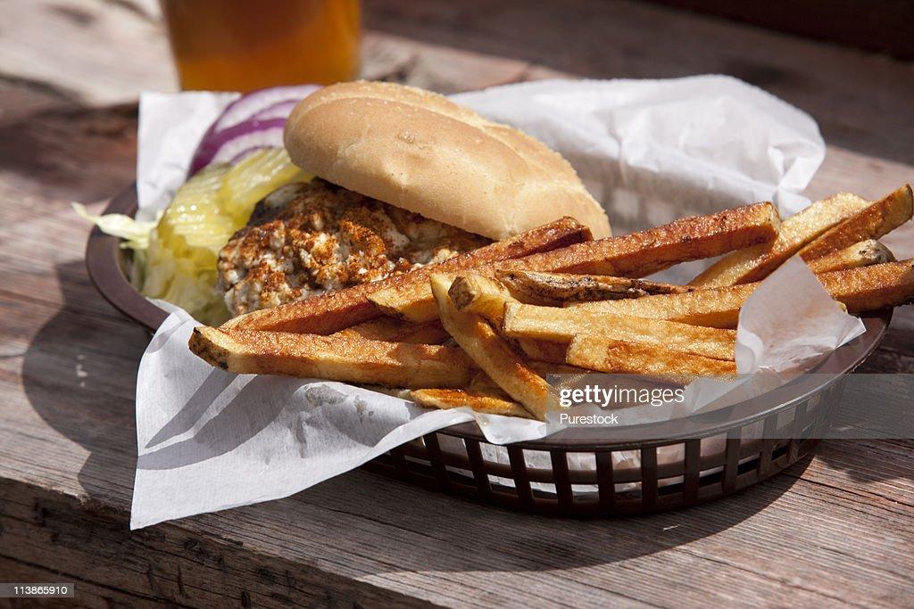 USA, Idaho, Stanley, Bridge Street Grill, Fast food in a restaurant : Stock Photo