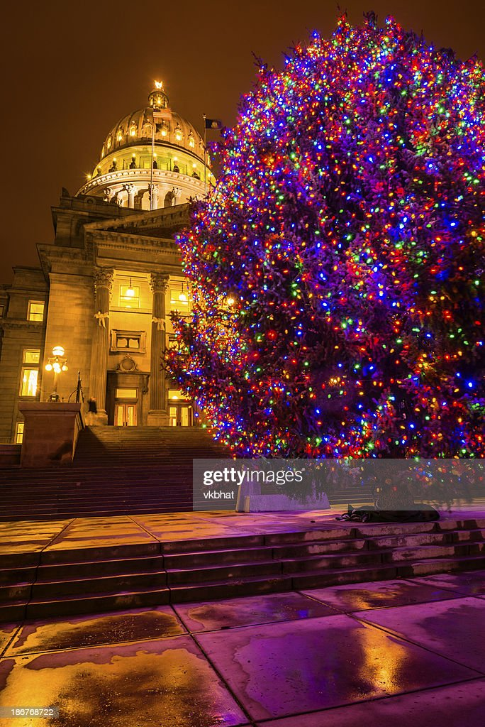 Christmas Lights Boise.Idaho State Capitol And Christmas Tree In Boise Stock Photo