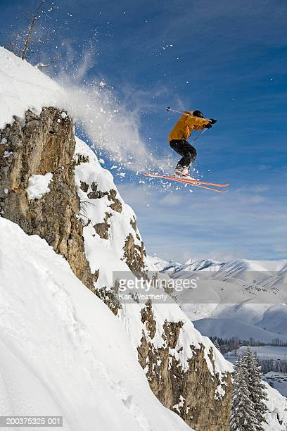 usa, idaho, sun valley, male skiier in midair, side view - sun valley idaho stock photos and pictures