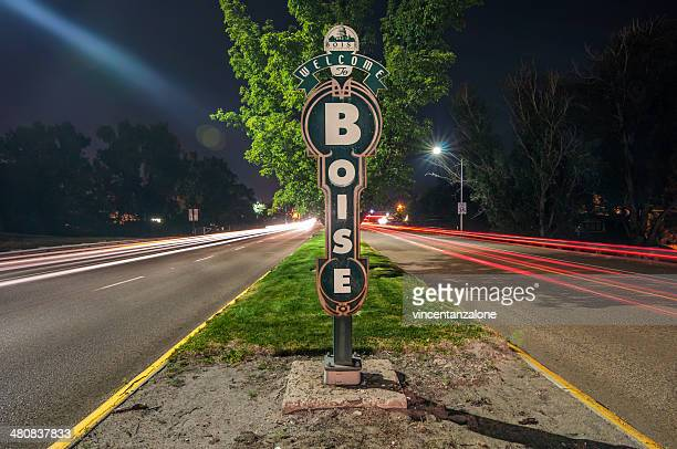 usa, idaho, welcome sign in boise - idaho stock pictures, royalty-free photos & images