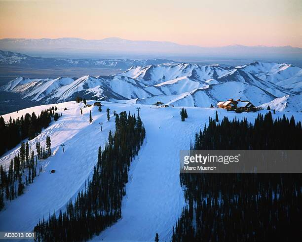 idaho,sun valley lodge at sunrise - sun valley idaho stock photos and pictures