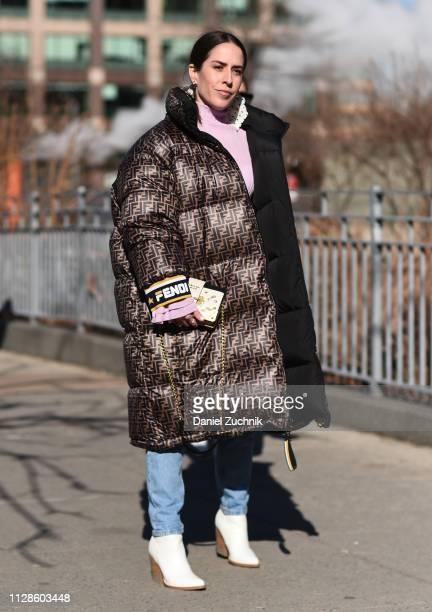 Idalia Salsamendi is seen wearing a Fendi puff coat outside the Son Jung Wan show during New York Fashion Week Fall/Winter 2019 on February 09 2019...