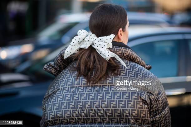 Idalia Salsamendi is seen wearing Fendi puffer coat bow tie outside SelfPortrait during New York Fashion Week Autumn Winter 2019 on February 09 2019...