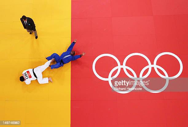 Idalys Ortiz of Cuba celebrates defeating Wen Tong of China in the Women's 78 kg Judo on Day 7 of the London 2012 Olympic Games at ExCeL on August 3...