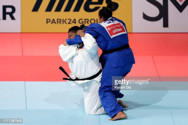 Idalys Ortiz of Cuba throws Maria Suelen Altheman of Brazil in the Women's +78kg semi final on day seven of the World Judo Championships at the...