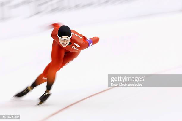Ida Njatun of Norway competes in the 1000m Ladies race during day two of the ISU World Cup Speed Skating held at Thialf Ice Arena on December 12 2015...