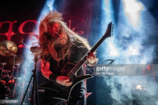 Idar Archaon Burheim from the band 1349 performs on stage during The Inferno Festival at Rockefeller Music Hall on April 21 2019 in Oslo Norway
