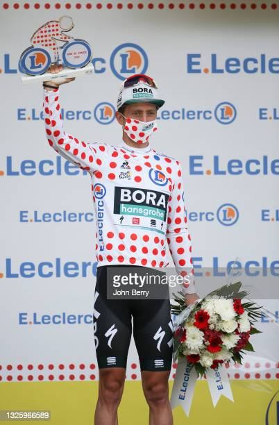 Ide Schelling of Netherlands and Bora - Hansgrohe retains the polka dot jersey of best climber during the podium ceremony of stage 3 of the 108th...