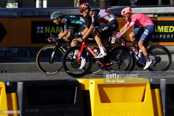 Ide Schelling of The Netherlands and Team BORA - Hansgrohe, Brent Van Moer of Belgium and Team Lotto Soudal & Michael Valgren of Denmark and Team EF...