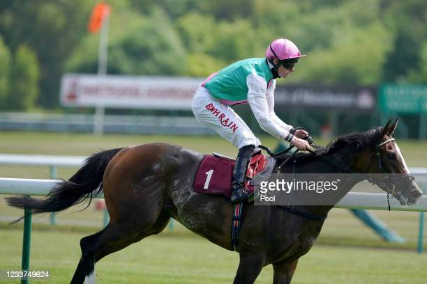 Ide Shot and Robert Havlin winning the Watch On Racing TV Handicap at Haydock Park Racecourse on July 1, 2021 in Newton-le-Willows, England.