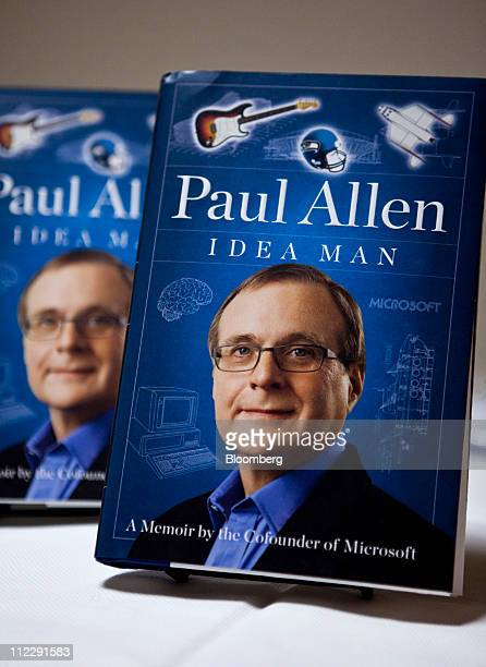 """""""Idea Man,"""" a memoir by Paul Allen, co-founder of Microsoft Corp., is displayed during a Bloomberg BusinessWeek """"Captains of Industry"""" event at the..."""