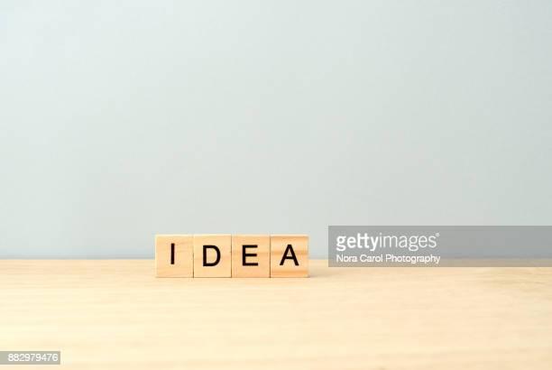 Idea Word on Wooden Tile Block