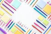 Ideas creativity concepts with flat lay of colorful stationery on wite space background.back to School.Modern mock up of business