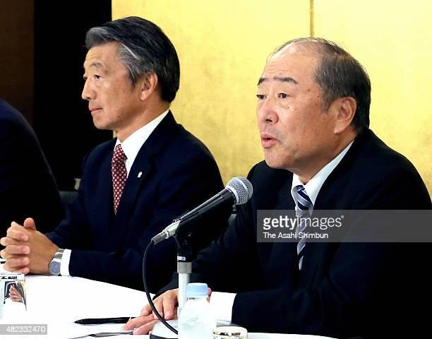 Idemitsu Kosan CEO Takashi Tsukioka and Showa Shell Sekiyu CEO Tsuyoshi Kameoka attend a press conference on July 30 2015 in Tokyo Japan Japan's...