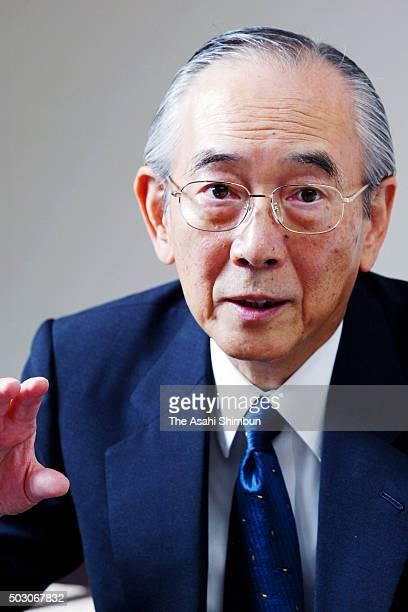 Idemitsu Kosan President Akihiko Tenbo speaks during the Asahi Shimbun interview at the company headquarters on October 23 2006 in Tokyo Japan