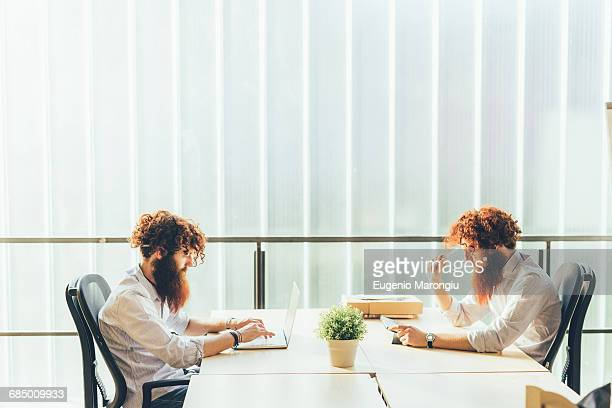 Identical male hipster twins working on laptop and digital tablet at office desk