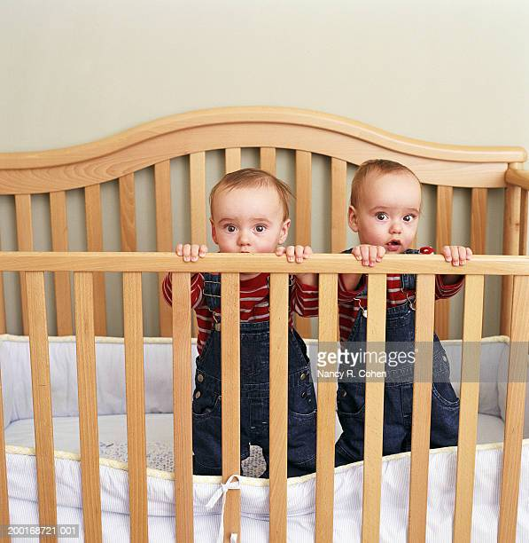 Identical twin baby boys (9-12 months) standing in crib, portrait