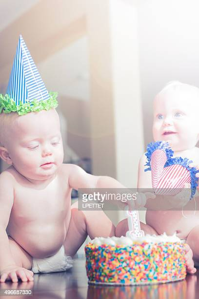 Identical Twins First Birthday Cake