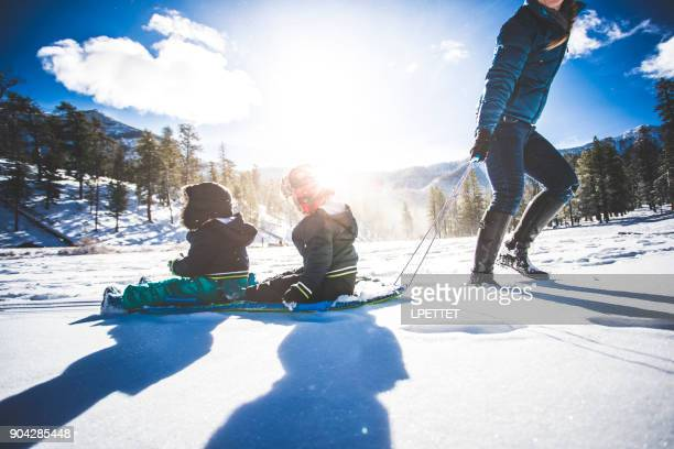 identical twins snow day - mt charleston stock photos and pictures